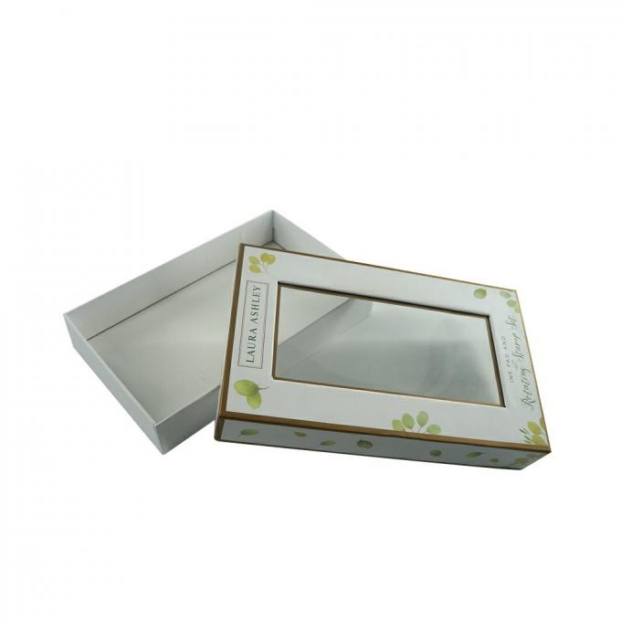 Custom White Cardboard Jewelry Boxes , Hard Cardboard Gift Boxes With Clear Window Lid
