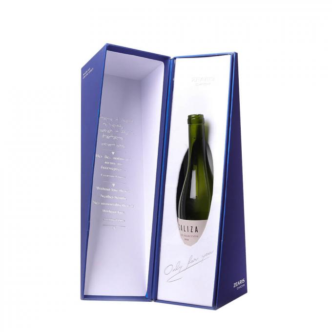 Recycled Silk Lined Champagne Flute Box , Single Bottle Cardboard Magnetic Box